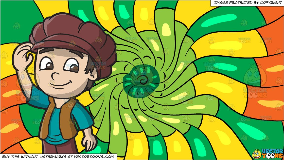 A Friendly Medieval Boy and A Psychedelic Warm Swirls Background.
