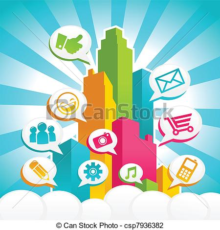 Vector Illustration of Colorful Social Media City.