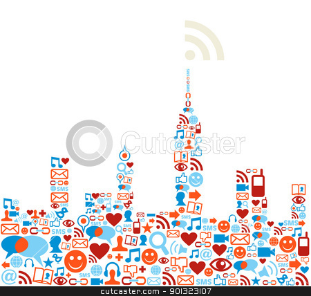 Social media network city concept stock vector.