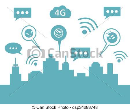 EPS Vector of Social media smart city. Vector flat illustration.