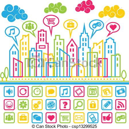 Vector Illustration of Social Media City.