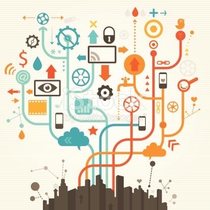 Social Media City stock vector art 166054831.