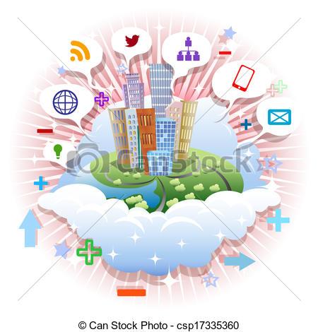 Clip Art Vector of Media city.