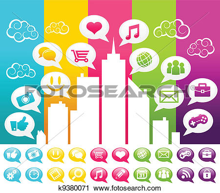 Clipart of Colorful Social Media City k9380071.