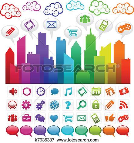Clip Art of Rainbow Social Media City k7936387.