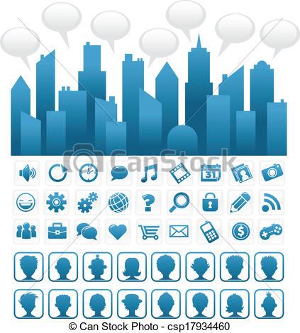 Clip Art Vector of Blue Social Media City.