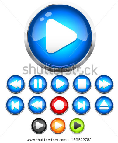 Glossy Buttons Audiovideo Media Controller Vector Stock Vector.
