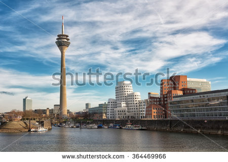 Dusseldorf Cityscape With View On Media Harbor, Germany Stock.