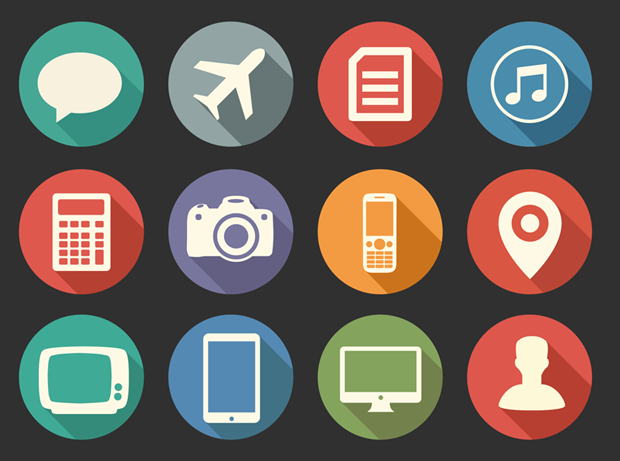 20 Free Flat Long Shadow Media Icons.