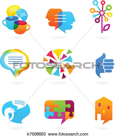 Clipart of Collection of social media and network icons k7506663.