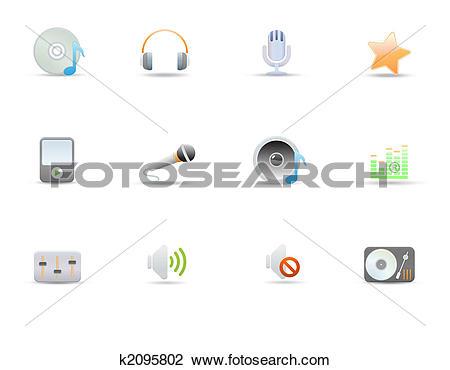 Clip Art of icons for common digital music media k2095802.