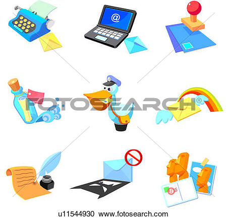 Stock Illustrations of Objects related to communication media on a.