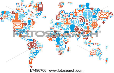 Clip Art of World map shape made with social media icons k7486706.