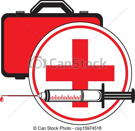 Vector Clip Art of Medical syringe and first aid kit. Icon for.