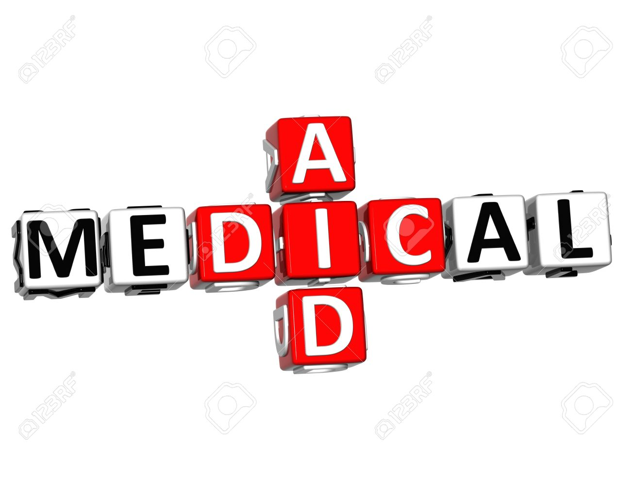 3D Medical Aid Crossword Block Button Text Over White Background.