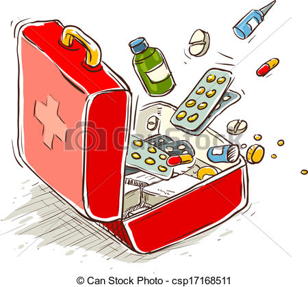 Vector Clip Art of First aid box with medical drugs and pills.