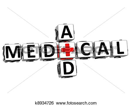Stock Images of 3D Medical Aid Crossword Block Button text.