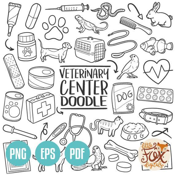 VECTOR EPS Veterinary Medical Center Traditional Doodle Icons Clipart  Scrapbook Set Hand Drawn Line Art Design Set Artwork Clip Art Coloring.