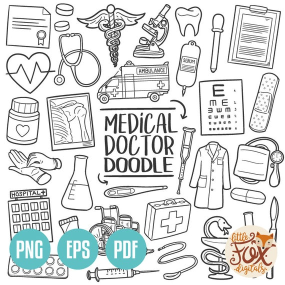 VECTOR EPS Doctor Hospital Medical Center Traditional Doodle Icons Clipart  Scrapbook Hand Drawn Line Art Design Set Artwork Clip Art Sketch.