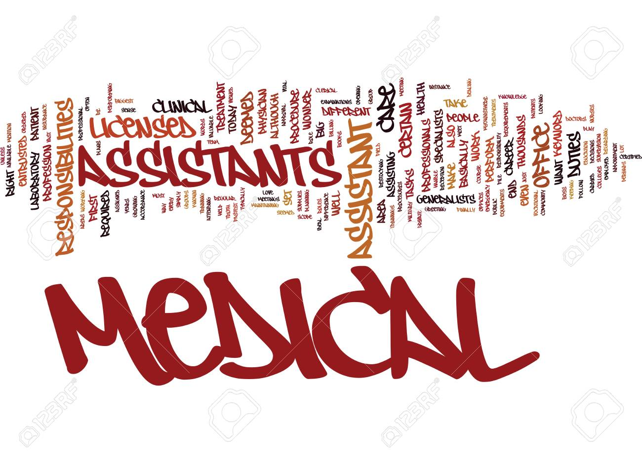 MEDICAL ASSISTANT Text Background Word Cloud Concept.