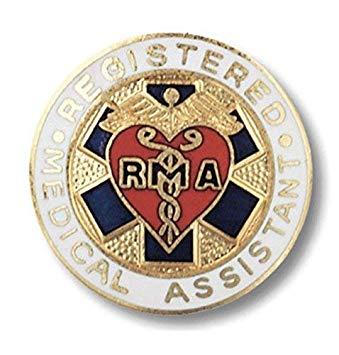Registered Medical Assistant Pin Heart Wings Emblem RMA Graduations Heart  Cross.