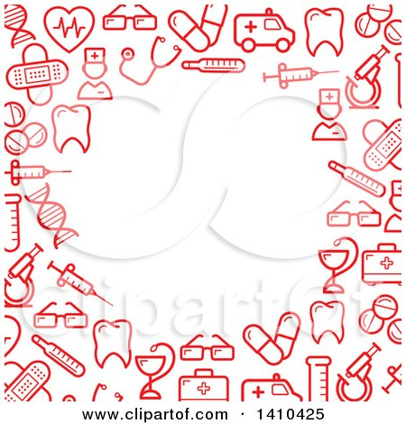 Clipart of a Border Made of Red Medical Icons.