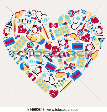 Clipart of Medical and health care icons in the shape of heart.