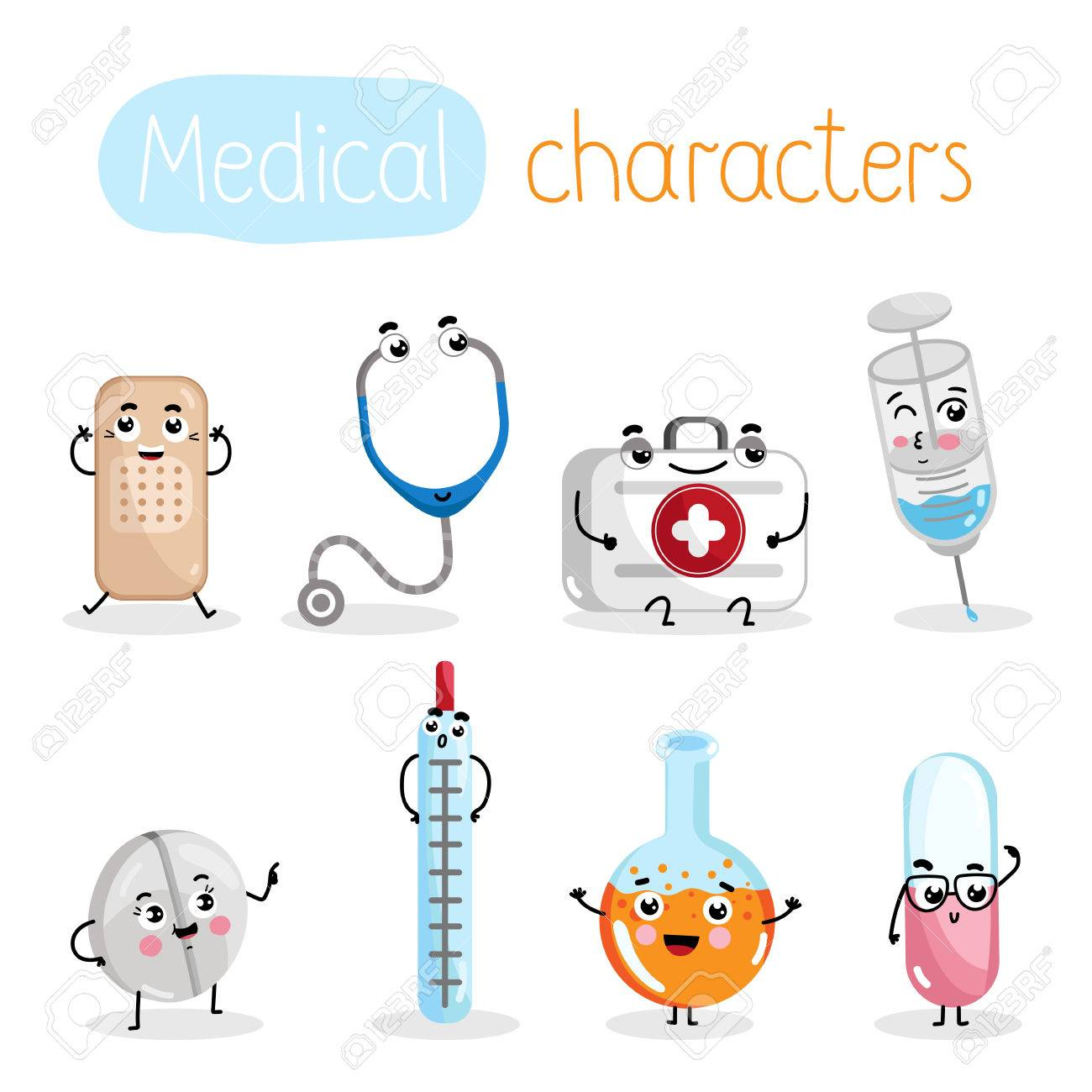 Funny medicine equipment cartoon characters. Thermometer, syringe,...