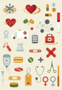 Cartoon medical elements set vector.