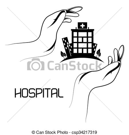 Vector Clip Art of hospital medical center design.