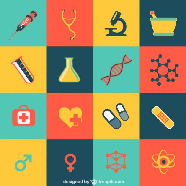 Medical flat icons Free Vector.