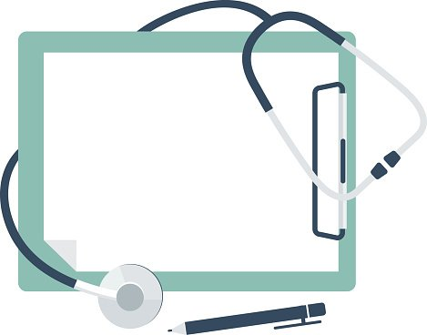Medical stethoscope with blank paper in clipboard Clipart.