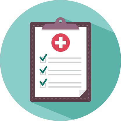 Medical clipboard icon with long shadow Clipart Image.