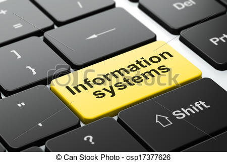 Clip Art of Data concept: Information Systems on computer keyboard.