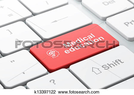 Clip Art of Education concept: computer keyboard with Head With.