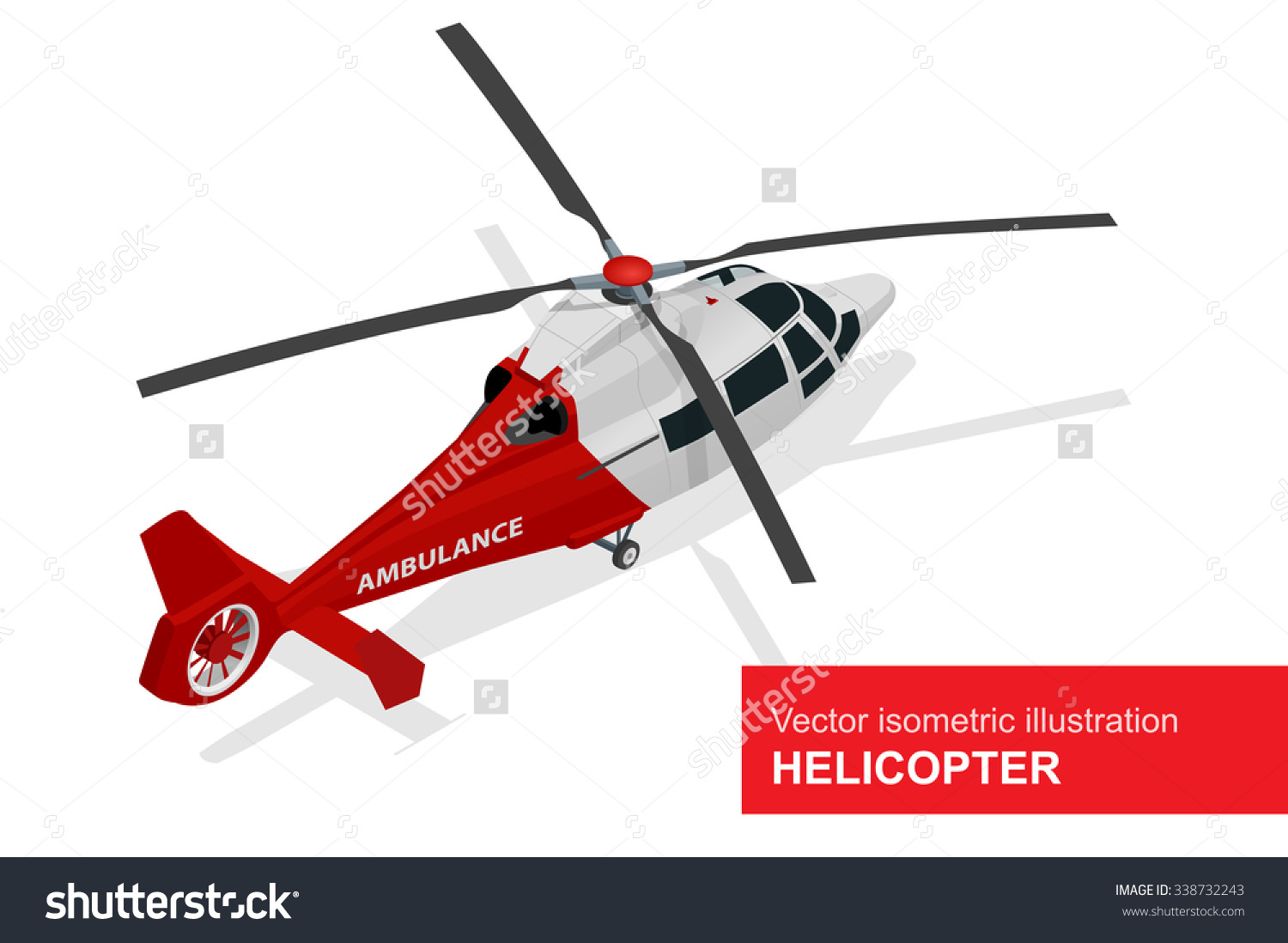 Helicopter Medical Evacuation Flat 3d Isometric Stock Vector.