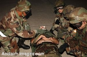 Clip Art Photo of Soldiers Simulating Medical Evacuation.