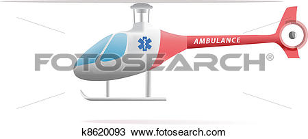 Clipart of Medical evacuation helicopter illustration isolated on.