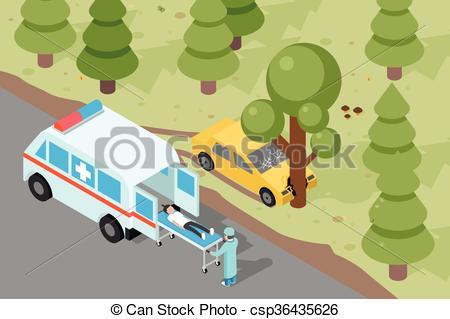 Vector Illustration of Ambulance. Emergency medical accident.