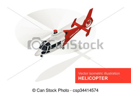 Vectors Illustration of Red helicopter. Vector isometric.