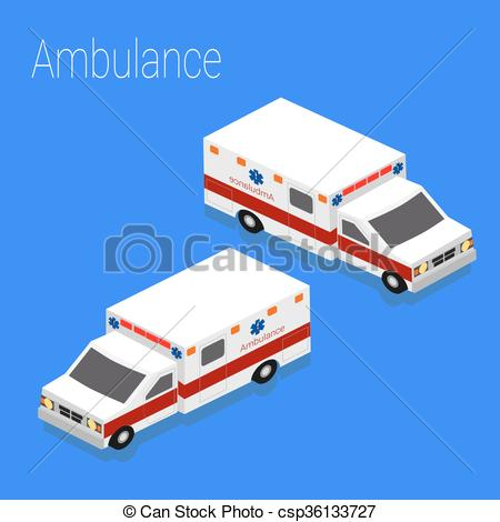 Vector Illustration of Flat 3d isometric style ambulance emergency.