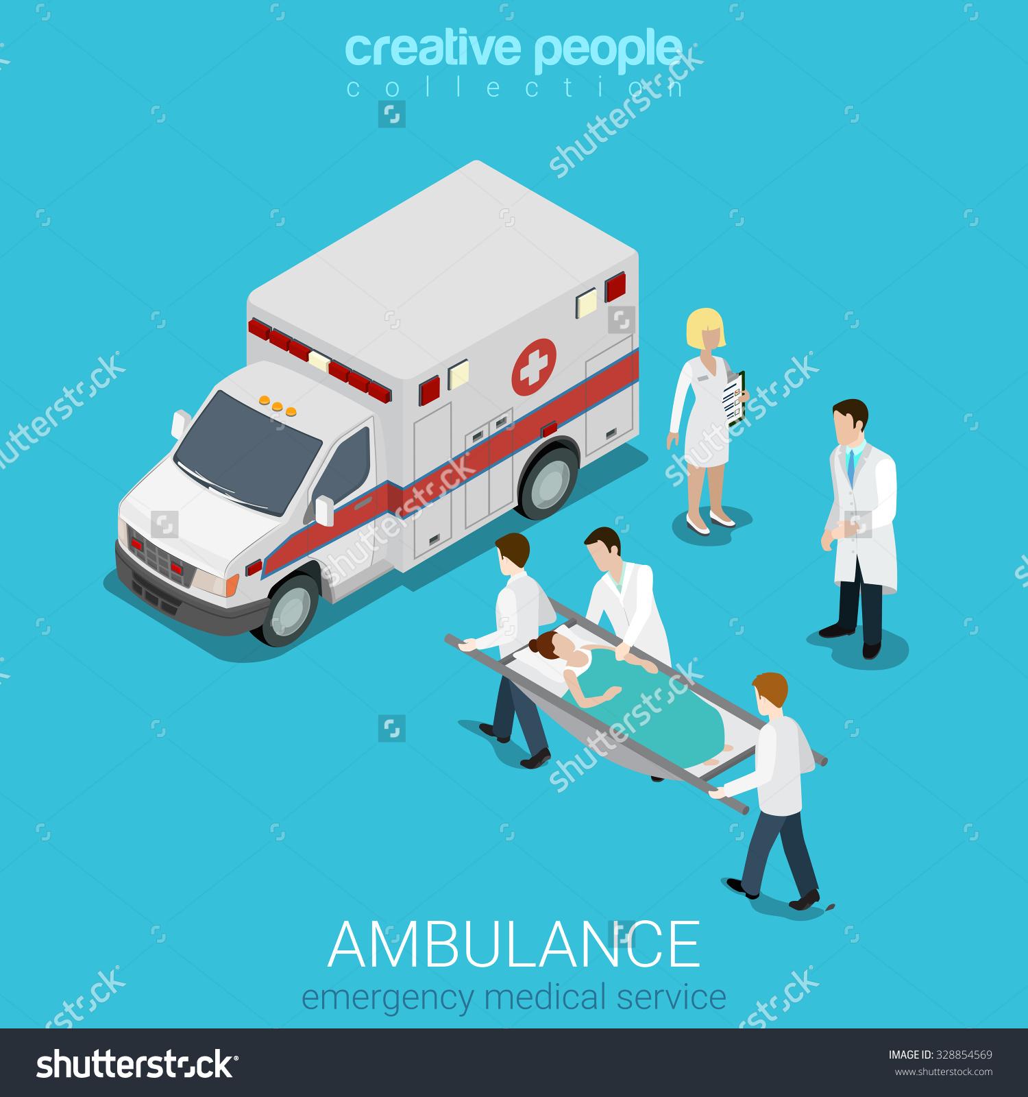 Flat 3d Isometric Style Ambulance Emergency Stock Vector 328854569.
