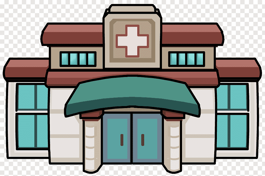 White, red, and blue hospital building illustration, Clinic.
