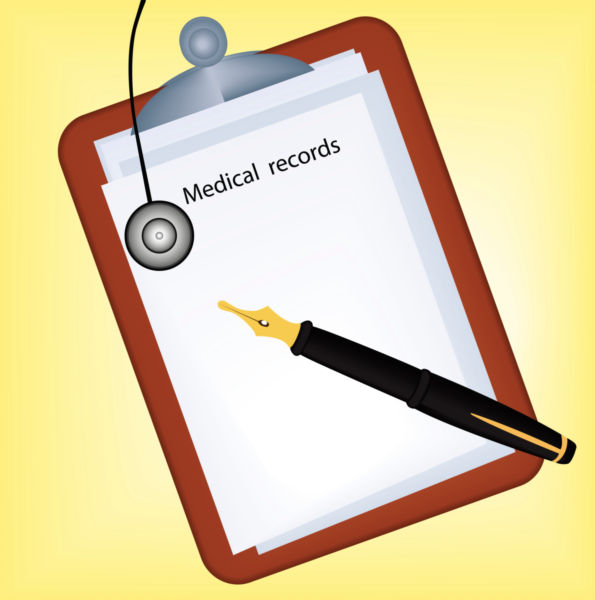 Vector image of a medical record..