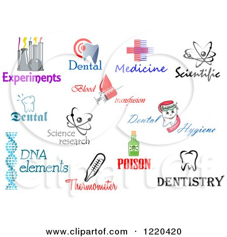 Clipart of Medical Science and Dental Designs and Text 2.