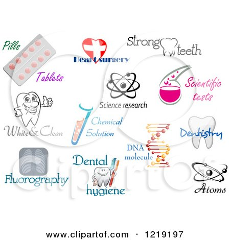 Clipart of Medical Science and Dental Designs and Text.