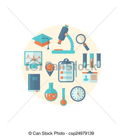 Vectors of Concept of management medical science research, set.