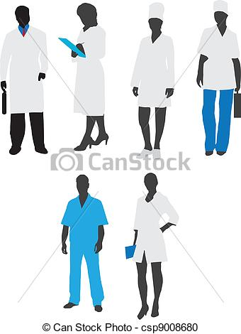Vector Clipart of Silhouettes of medical staff.Vector.
