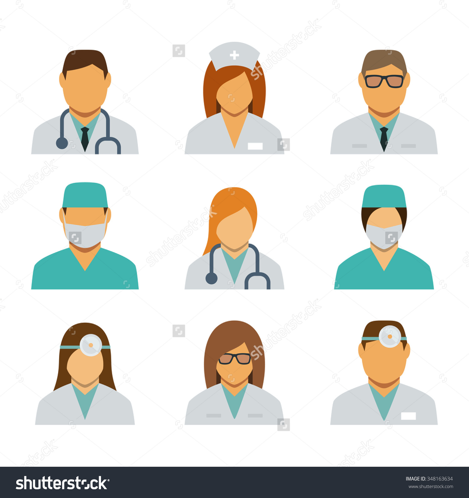 Set Avatar Icons Medical Staff Stock Vector 348163634.