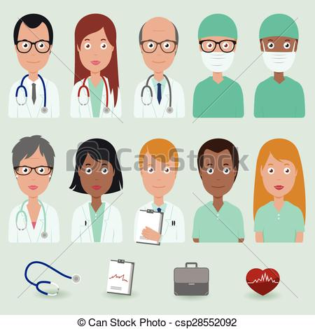 EPS Vectors of Medical staff people icons.